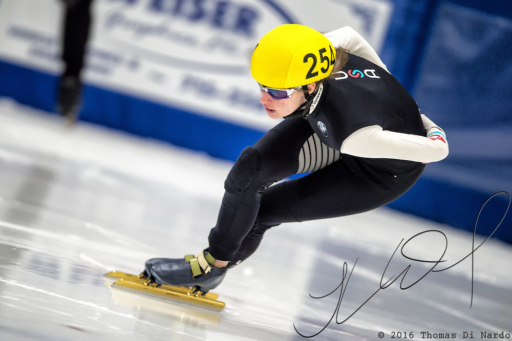 March 20, 2016 - Verona, WI - Taylor Wentz, skater number 254 competes in US Speedskating Short Track Age Group Nationals and AmCup Final held at the Verona Ice Arena.