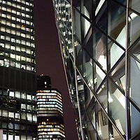 London - office buildings at night