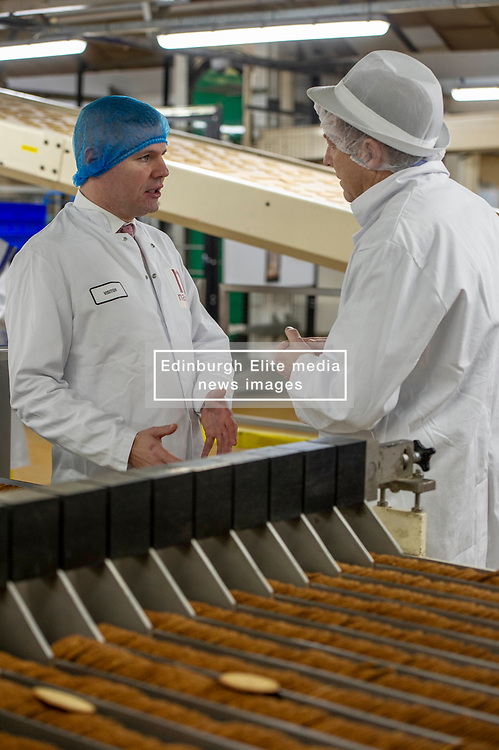 Pictured: Derek Mackay and Nairns Oatcakes managing director Marytn Gray.<br /> <br /> Economy Secretary Derek Mackay visited Nairn's Oatcakes in Edinburgh today to comment on the latest export and GDP statistics. Mr Mackay enjoyed a short tour of the factory where staff demonstrated the manufacturing process.<br /> <br /> Ger Harley   EEm 30 January 2019