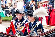 """Koning Willem Alexander wordt door Hare Majesteit Koningin Elizabeth II geïnstalleerd in de 'Most Noble Order of the Garter'. Tijdens een jaarlijkse ceremonie in St. Georgekapel, Windsor Castle, wordt hij geïnstalleerd als 'Supernumerary Knight of the Garter'.<br /> <br /> King Willem Alexander is installed by Her Majesty Queen Elizabeth II in the """"Most Noble Order of the Garter"""". During an annual ceremony in St. George's Chapel, Windsor Castle, he is installed as """"Supernumerary Knight of the Garter"""".<br /> <br /> Op de foto / On the photo: Felipe VI van Spanje en Duke William of Cambridge  / King Felipe VI from Spain and Duke William of Cambridge"""
