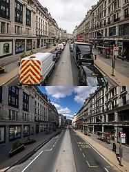 © Licensed to London News Pictures. 12/04/2021. London, UK. Paired images showing heavy traffic on Regent Street on Monday 12 April 2021 (TOP) after shops reopened, and the same location the day before, Sunday 11 April 2021 (BOTTOM), when shops were closed. Pubs, restaurants and non-essential shops reopened on Monday 12 April 2021 as England begins the second phase of 'unlocking' after months of lockdown. Photo credit: Rob Pinney/LNP