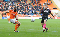 Blackpool's Liam Feeney under pressure from Peterborough United's Dan Butler<br /> <br /> Photographer Kevin Barnes/CameraSport<br /> <br /> The EFL Sky Bet Championship - Blackpool v Peterborough United - Saturday 2nd November 2019 - Bloomfield Road - Blackpool<br /> <br /> World Copyright © 2019 CameraSport. All rights reserved. 43 Linden Ave. Countesthorpe. Leicester. England. LE8 5PG - Tel: +44 (0) 116 277 4147 - admin@camerasport.com - www.camerasport.com