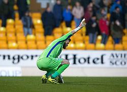 St Johnstone's sub keeper Zander Clark goes of injured. St Johnstone 2 v 4 Ross County. SPFL Ladbrokes Premiership game played 19/11/2016 at St Johnstone's home ground, McDiarmid Park.