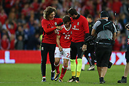 goalscorer Ben Woodburn of Wales © celebrates with Ethan Ampadu and Danny Ward ® at the end of the game. Wales v Austria , FIFA World Cup qualifier , European group D match at the Cardiff city Stadium in Cardiff , South Wales on Saturday 2nd September 2017. pic by Andrew Orchard, Andrew Orchard sports photography