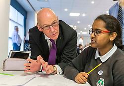 Pictured L to R John Swinney at the Maths Olympics. Education Secretary, John Swinney launches biggest ever Maths Week Scotland at 'Maths Olympics'. More than a hundred secondary pupils will go head to head in a number of challenges this Monday to kick off Maths Week Scotland 2019.