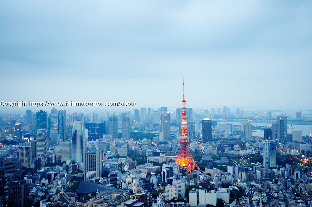 View of Tokyo Tower at dusk