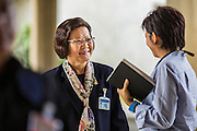 08 AUGUST 2014 - BANGKOK, THAILAND: Khunying SUMONTHA PROMBOON, one of only 10 women in the NLA, arrives at the NLA's first meeting Friday. The Thai National Legislative Assembly (NLA) met Friday at the Parlimanet Building in Bangkok to elect legislative leadership. The NLA was appointed by the Thai junta, formally called the National Council for Peace and Order (NCPO), and is supposed to guide Thailand back to civilian rule after a military coup overthrew the elected government in May. There are 197 members of the NLA. Membership is tilted towards military personnel. From the Royal Thai Army 40 members are Generals, 21 are Lt. Generals and 7 are Major Generals. From the Royal Thai Air Force 17 are Air Chief Marshals and 2 are Air Marshals. From the Royal Thai Navy, 14 are Admirals and 5 are Vice Admirals. There are also 6 Police Generals and 3 Police Lt. Generals. There are 187 men in the NLA and only 10 women.        PHOTO BY JACK KURTZ