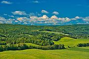 Rolling hills and farms<br />Saint-Narcisse-de-Rimouski<br />Quebec<br />Canada
