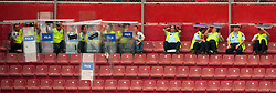 26.08.2010, Hueseyin Avni Aker Stadion, Trabzon, TUR, UEFA EL, Trabzonspor vs Liverpool FC, im Bild Turkish riot police shelter from the rain under their shields, EXPA Pictures © 2010, PhotoCredit: EXPA/ Propaganda/ D. Rawcliffe *** ATTENTION *** UK OUT! / SPORTIDA PHOTO AGENCY