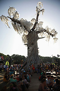 Glastonbury Festival on June 27th 2019 in Glastonbury, Somerset, United Kingdom. The Greenpeace tree of plastic. The festival has been going for decades and this year the sun is beating down promising a dry weekend.