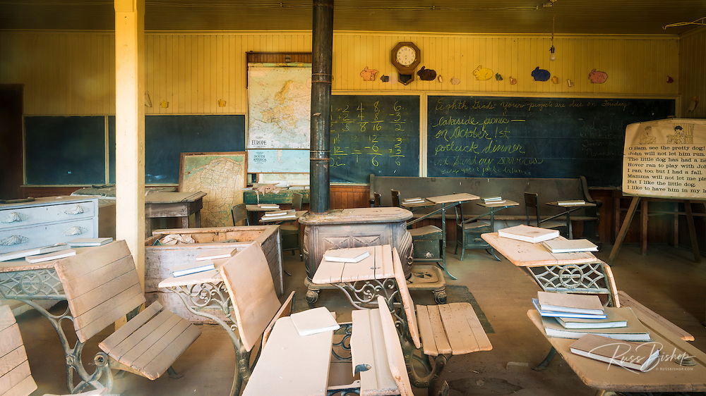 Classroom in the Bodie schoolhouse, Bodie State Historic Park, California USA
