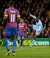 Manchester City's Yaya Toure scores his sides first goal to make the score 2-1  <br /> <br /> Photographer Ashley Western/CameraSport<br /> <br /> Football - Barclays Premiership - Crystal Palace v Manchester City - Monday 6th April 2015 - Selhurst Park - London<br /> <br /> © CameraSport - 43 Linden Ave. Countesthorpe. Leicester. England. LE8 5PG - Tel: +44 (0) 116 277 4147 - admin@camerasport.com - www.camerasport.com