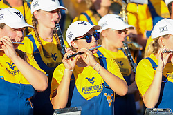 Sep 4, 2021; College Park, Maryland, USA; A West Virginia Mountaineers band member performs during the fourth quarter against the Maryland Terrapins at Capital One Field at Maryland Stadium. Mandatory Credit: Ben Queen-USA TODAY Sports
