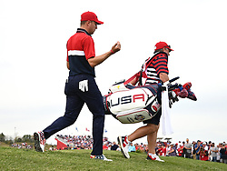 Team USA's Justin Thomas leaves the 15th green during day three of the 43rd Ryder Cup at Whistling Straits, Wisconsin. Picture date: Sunday September 26, 2021.
