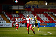 Scott Cuthbert of Stevenage during the EFL Sky Bet League 2 match between Stevenage and Barrow at the Lamex Stadium, Stevenage, England on 27 March 2021.