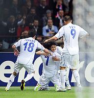 Milano, 05/04/2011<br /> Champions League/Inter-Schalke 04<br /> Gol Schalke 04: Raul fa festa con i compagni