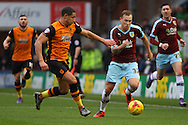 Jake Livermore of Hull City holds on to Scott Arfield of Burnley. Skybet football league Championship match, Burnley v Hull city at Turf Moor in Burnley ,Lancs on Saturday 6th February 2016.<br /> pic by Chris Stading, Andrew Orchard sports photography.