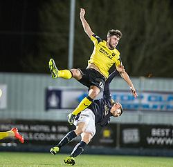 Livingston Morgan Neill over Falkirk's Blair Alston. Falkirk 2 v 0 Livingston, Scottish Championship game played 29/12/2015 at The Falkirk Stadium.