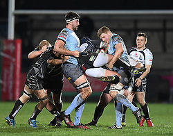 Jake Thomas of Pontypridd gets stopped in his tracks<br /> <br /> Photographer Mike Jones/Replay Images<br /> <br /> Principality Premiership - Neath v Pontypridd - Friday 16th March 2018 - The Gnoll Neath<br /> <br /> World Copyright © Replay Images . All rights reserved. info@replayimages.co.uk - http://replayimages.co.uk