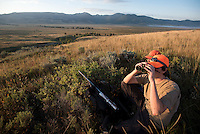 Ben Holloway and his uncle, Lewis Holloway, scan the northern end of the National Elk Refuge from a high point Saturday morning, the opening day of the 2015-16 bison hunting season. Though bison were reported to have been in the area a few days before, not an animal was seen, nor a shot heard on opening day.