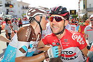 Arrival, Tony Gallopin (FRA - AG2R - La Mondiale) winner, Maxime Monfort (BEL - Lotto Soudal), during the UCI World Tour, Tour of Spain (Vuelta) 2018, Stage 7, Puerto Lumbreras - Pozo Alcon 185,7 km in Spain, on August 31th, 2018 - Photo Luis Angel Gomez / BettiniPhoto / ProSportsImages / DPPI
