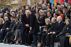 Trump shakes hands with Macron.<br /> Prime Minister of Israel, Benyamin Netanyahou and his wife, Prime Minister of Canada Justin Trudeau, Morocco's King Mohammed VI and his son, first lady Melania Trump, U.S. President Donald Trump, German Chancellor Angela Merkel, Emmanuel Macron and Brigitte Macron, Russian President Vladimir Putin and Australian Governor-General Peter Cosgrove.<br /> French President Emmanuel Macron and Brigitte Macron, German Chancellor Angela Merkel, U.S. President Donald Trump, first lady Melania Trump, Morocco's King Mohammed VI, Russian President Vladimir Putin, Australian Governor-General Peter Cosgrove attend a commemoration ceremony for Armistice Day, 100 years after the end of the First World War at the Arc de Triomphe.<br /> Paris,FRANCE-11/11/2018 Photo by Jacques Witt/pool/ABACAPRESS.COM