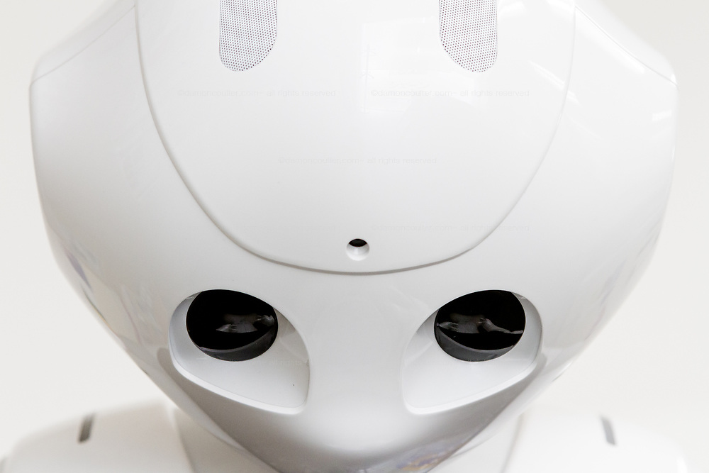 Pepper robot, looking down and sad.Kanagawa, Japan Thursday May 24th 2018.  At the end of June 2021 the Softbank company announced it was cutting jobs in its global robotics business and had stopped production of the Pepper robot.