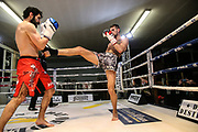 Muay Thai: Day of Destruction XIV, Hamburg, 12.12.2020<br /> Kevin Botz (grau/schwarze Hose) - Ali Shams (rote Hose)<br /> © Torsten Helmke