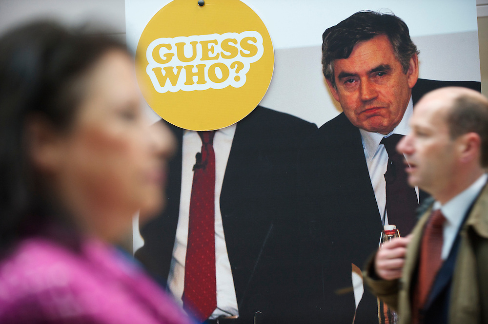 A poster lambasting the Labour party, former prime minister Gordon Brown and newly elected leader Ed Miliband (covered) is positioned prominently on the third, and penultimate, day of the Conservatives Party Conference at the ICC, Birmingham, England on October 5, 2010.  This is the first conference since the government coalition with the Liberal Democrats.
