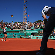 Jarmila Groth, Australia, in action during her loss to Jelena Jankovic, Serbia,  during the third round match at the French Open Tennis Tournament at Roland Garros, Paris, France on Saturday, May 30, 2009. Photo Tim Clayton.