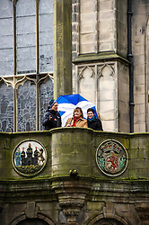 Pictured: Fiona Hyslop on top of the Mercat Cross<br /> Ahead of parliamentary debate on the Year of History, Heritage and Archaeology, Culture Secretary Fiona Hyslop visited Edinburgh's Mercat Cross on the High Street to learn how Scotland is capitalising on the booming demand from tourists to explore the nation's history and genealogy. <br /> Ger Harley | EEm 31 January 2017