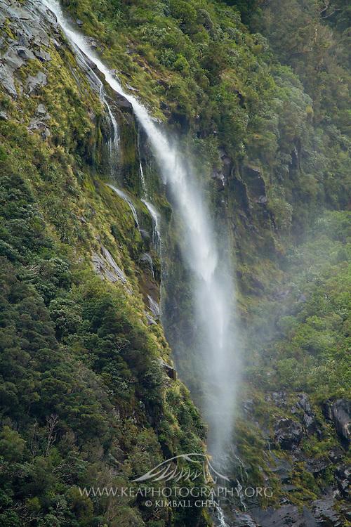 Fiordland, waterfall, New Zealand