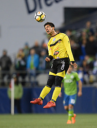 March 1, 2018 - Seattle, Washington, U.S - Soccer 2018: Santa Tecla's FERNANDO QUINTANILLA (43) goes up for a header as Santa Tecla FC visits the Seattle Sounders for a CONCACAF match at Century Link Field in Seattle, WA. (Credit Image: © Jeff Halstead via ZUMA Wire)