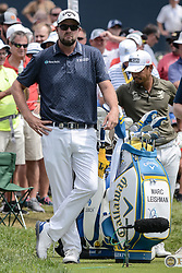 August 9, 2018 - Town And Country, Missouri, U.S - MARC LEISHMAN from Australia watches the play in front of him during round one of the 100th PGA Championship on Thursday, August 8, 2018, held at Bellerive Country Club in Town and Country, MO (Photo credit Richard Ulreich / ZUMA Press) (Credit Image: © Richard Ulreich via ZUMA Wire)