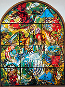 The Tribe of Asher. The Twelve Tribes of Israel depicted in stained glass By Marc Chagall (1887 - 1985). The Twelve Tribes are Reuben, Simeon, Levi, Judah, Issachar, Zebulun, Dan, Gad, Naphtali, Asher, Joseph, and Benjamin.