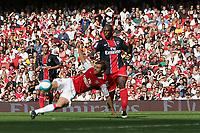 Photo: Lee Earle.<br /> Arsenal v Paris Saint-Germain. The Emirates Cup. 28/07/2007.Mathieu Flamini (L) scores their opening goal.