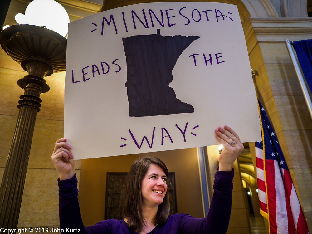 27 MARCH 2019 - ST PAUL, MN, USA: KATIE KRAMER, from the Minnesota Coalition for Battered Women, in the Minnesota State Capitol. The first battered women's shelter in the US opened in St. Paul in 1974. About 200 people came to the Minnesota State Capitol to rally for the survivors of domestic violence and to call for the passage of two bills in the Minnesota legislature. HF464 would invest in intervention programming for the perpetrators of domestic violence and HF479 supports state funding for domestic violence prevention in under served communities.   PHOTO BY JACK KURTZ