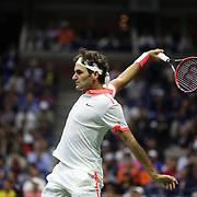 Roger Federer, Switzerland, in action against Novak Djokovic, Serbia, in the Men's Singles Final during the US Open Tennis Tournament, Flushing, New York, USA. 13th September 2015. Photo Tim Clayton