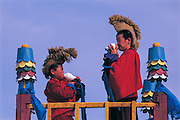 Monks blowing shell<br /> Calling monks to morning chanting<br /> Choibalsan Monastery<br /> Eastern Mongolia