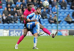 Ricardo Santos of Peterborough United gets to grips with Elliott Lee of Colchester United - Mandatory by-line: Joe Dent/JMP - 16/04/2016 - FOOTBALL - Weston Homes Community Stadium - Colchester, England - Colchester United v Peterborough United - Sky Bet League One