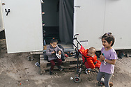 Children living in the Moria refugee camp on the Greek island of Lesvos.