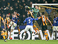 David Marshall of Hull City punches the ball not his own net during the English Premier League match at the KCOM Stadium, Kingston Upon Hull. Picture date: December 30th, 2016. Pic Simon Bellis/Sportimage
