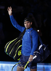 2017?11?13?.    ?????1???——ATP???????????Goffin.       11?13????????????.       ???????????ATP????????????????????????????1?2???????Goffin?.       ????????.(SP) BRITAIN-LONDON-TENNIS-ATP FINALS-NADAL VS GOFFIN.(171113) -- LONDON, Nov. 13, 2017  Rafael Nadal of Spain walks out for the singles group match against David Goffin of Belgium during the Nitto ATP World Tour Finals at O2 Arena in London, Britain on Nov. 13, 2017. Rafael Nadal lost 1-2. (Credit Image: © Han Yan/Xinhua via ZUMA Wire)