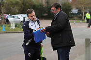 AFC Wimbledon midfielder Dean Parrett (18) signing autographs for fans during the EFL Sky Bet League 1 match between AFC Wimbledon and Oxford United at the Cherry Red Records Stadium, Kingston, England on 10 March 2018. Picture by Matthew Redman.