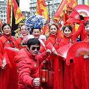 """London, UK. 10th Feb 2019. London Chinese Dance School """"Mongolian"""" join the Chinese community hold the annual new year many of parade from China that this year celebrates the year of the Pig in London."""