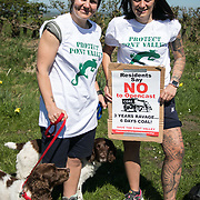 "Rachel Caldwell and Amy Patterson, local residents: "" We love this valley and we want to protect it."" Day of protest in Pont Valley against the extraction of coal by the mining company Banks outside Dipton in Pont Valley, County Durham. Day of protest in Pont Valley 5 May 2018  against the extraction of coal by the mining company Banks outside Dipton in Pont Valley, County Durham. Locals have fought the open cast coal mine for thirty years and three times the local council rejected planning permissions but central government has overruled that decision and the company Banks was granted the license and rights to extract coal in early 2018. Locals have teamed up with climate campaigners and together they try to prevent the mining from going ahead. The mining will have huge implications on the local environment and further coal extraction runs agains the Paris climate agreement. A rare species of crested newt live on the land planned for mining and protectors are trying to stop the mine to save the newt."