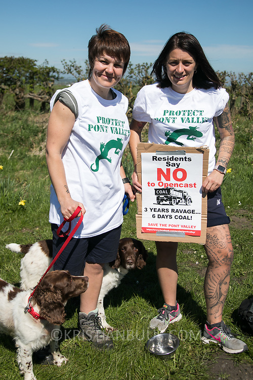 """Rachel Caldwell and Amy Patterson, local residents: """" We love this valley and we want to protect it."""" Day of protest in Pont Valley against the extraction of coal by the mining company Banks outside Dipton in Pont Valley, County Durham. Day of protest in Pont Valley 5 May 2018  against the extraction of coal by the mining company Banks outside Dipton in Pont Valley, County Durham. Locals have fought the open cast coal mine for thirty years and three times the local council rejected planning permissions but central government has overruled that decision and the company Banks was granted the license and rights to extract coal in early 2018. Locals have teamed up with climate campaigners and together they try to prevent the mining from going ahead. The mining will have huge implications on the local environment and further coal extraction runs agains the Paris climate agreement. A rare species of crested newt live on the land planned for mining and protectors are trying to stop the mine to save the newt."""