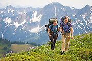 Climbing sisters Hayley (l-r) and Valerie Wall hike through a flowering alpine meadow along the Pacific Crest Trail below White Pass, Glacier Peak Wilderness, Washington.