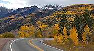 A road through the Rocky Mountains of Gunnison County Colorado during autumn; USA