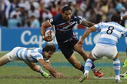 April 8, 2018 - Hong Kong, HONG KONG - Martin Iosefo (12) of the United States shown against Argentina during the 2018 Hong Kong Rugby Sevens at Hong Kong Stadium in Hong Kong. (Credit Image: © David McIntyre via ZUMA Wire)